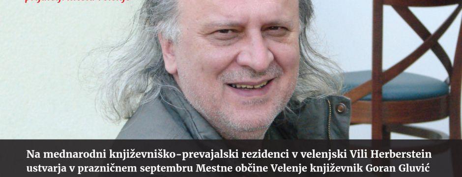 Na mednarodni književniško-prevajalski rezidenci v velenjski Vili Herberstein ustvarja v prazničnem septembru Mestne občine Velenje izbrani književnik Goran Gluvić