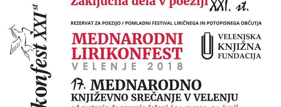 17. mednarodni Lirikonfest Velenje (2018) – najava