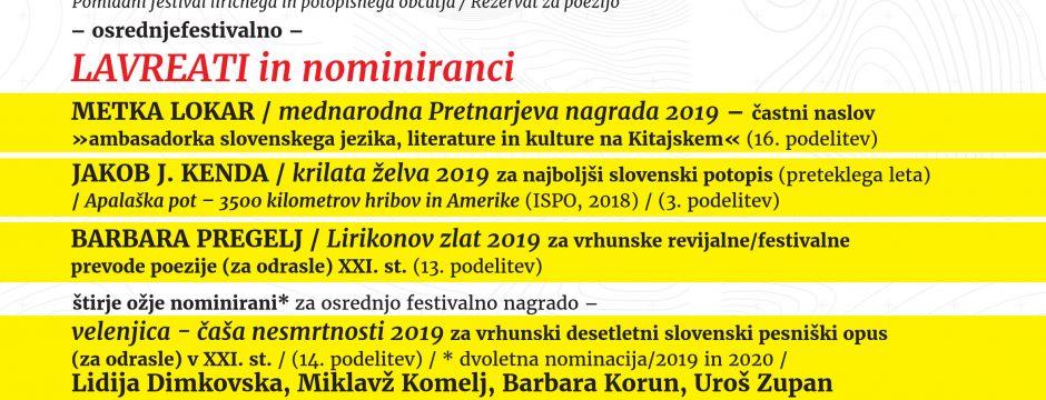 LAVREATI IN NOMINIRANCI 18. MEDNARODNEGA LIRIKONFESTA VELENJE (2019)